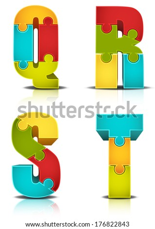 Vector illustration of letters made of puzzle. - stock vector