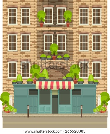vector illustration of life in the city, the store is located in a residential building with  showcases - stock vector