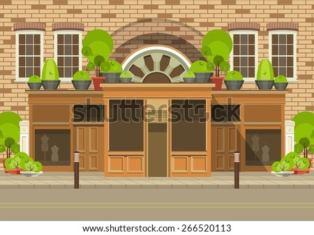 vector illustration of life in the city, the store is located in a residential building with mannequinshowcases - stock vector