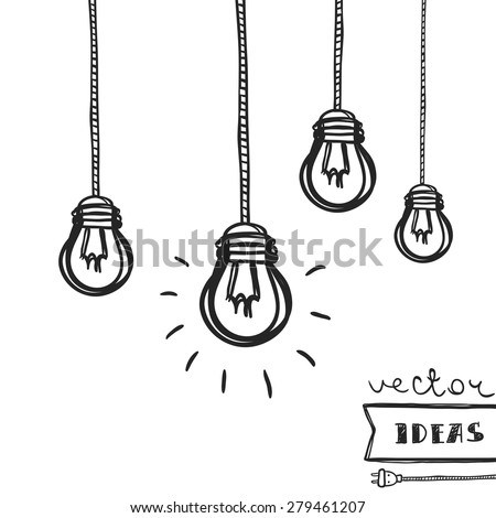 Vector illustration of light bulbs isolated on white, ideas and creative process concept art - stock vector