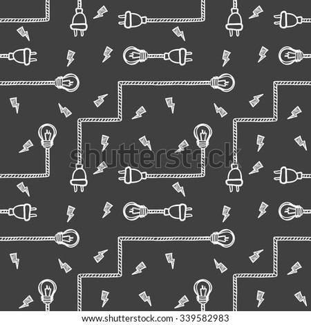 Vector illustration of light bulbs, wires and electric plugs isolated on black. Sketch-style seamless hand-drawn background - stock vector