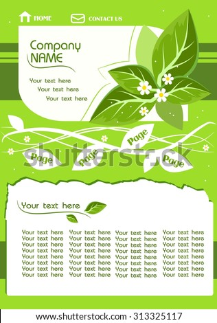 Vector illustration of light green web template with leaves - stock vector