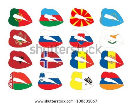 Vector illustration of lips on flags. - stock vector