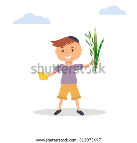 Vector illustration of  little boy in Jewish  skullcap. Boy holding in hands  four species - palm, willow, myrtle , lemon - symbols of Jewish holiday Sukkot. Autumn holiday of Sukkot  illustration. - stock vector