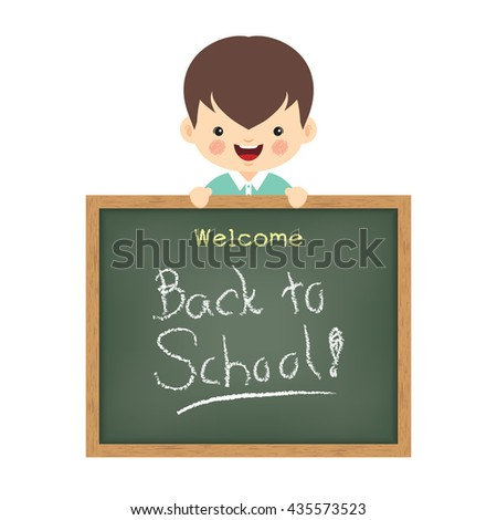 """Vector illustration of little cute boy and blackboard written """"Welcome back to school"""". Isolated cartoon character.  - stock vector"""