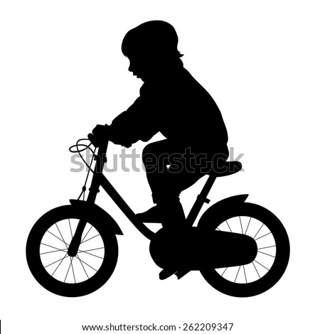 Vector illustration of little kid ride a bike silhouette  - stock vector