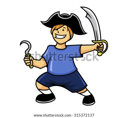 vector illustration of little pirate boy  - stock vector