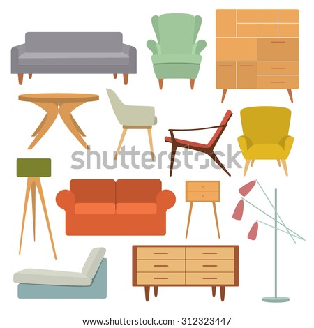 Mid century modern stock vectors vector clip art for Chair design elements