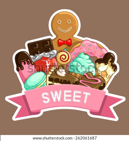 Vector illustration of Logo sweet food, candy, cakes, macaroon, ice cream, chocolate, lollipop, donut, muffin.  - stock vector