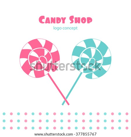 Vector illustration of lollipop isolated on white background. Candy shop logo concept. - stock vector