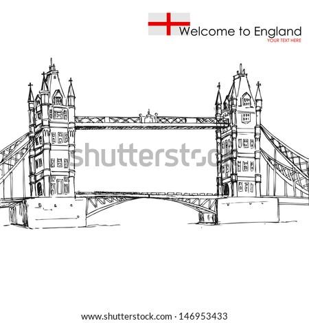 vector illustration of London Bridge against white background - stock vector