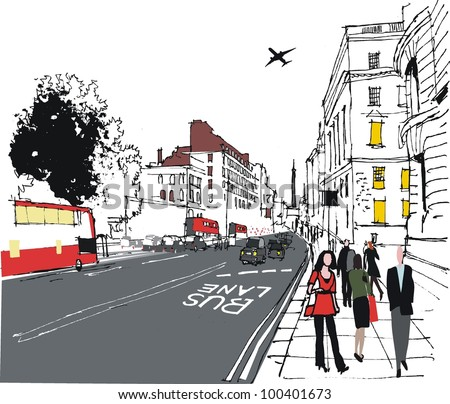 Vector illustration of London city street with pedestrians - stock vector