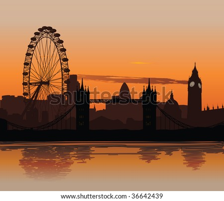 Vector illustration of London skyline at sunset with reflection on the Thames - stock vector