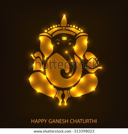 Vector illustration of Lord Ganesh for Ganpati Chaturthi. - stock vector