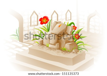 vector illustration of Lord Ganesha made of stone - stock vector