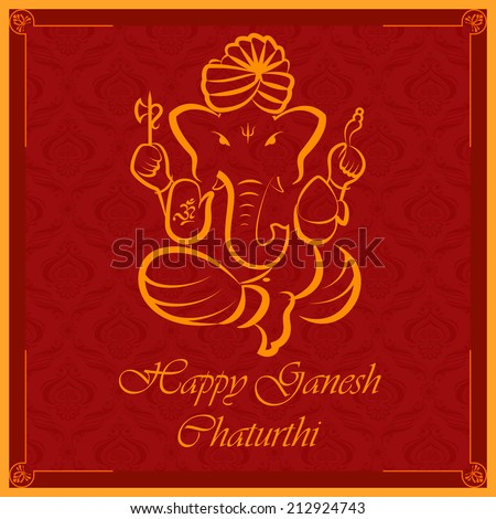 vector illustration of Lord Ganesha on floral backdrop - stock vector