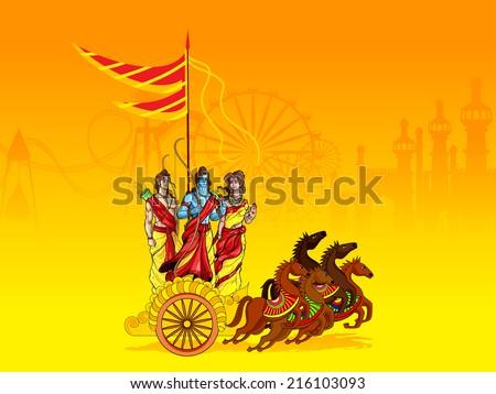 vector illustration of Lord Rama,Laxmana and Sita - stock vector