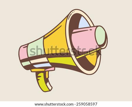 Vector illustration of loudspeaker on light background. Retro color hand draw line art design for web, site, advertising, banner, poster, board and print. - stock vector