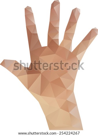 Vector Illustration of Low Poly Hand - stock vector
