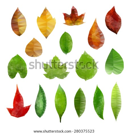 Vector illustration of low-polygonal leaves design elements. - stock vector