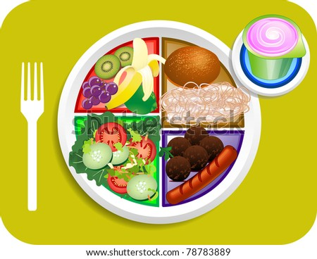 Vector illustration of Lunch items for the new my plate replacing food pyramid. - stock vector