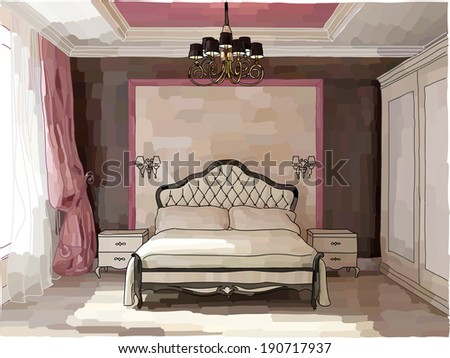 Vector illustration of luxury bedroom interior in pink and brown, hand-drawn style - stock vector
