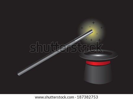 Vector illustration of magic wand with bright light at tip above black magician hat on black background with copy space - stock vector
