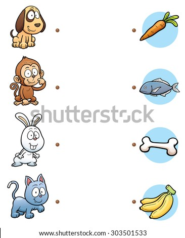 Vector Illustration of  make the right choice and connect the dots animal with their food - stock vector