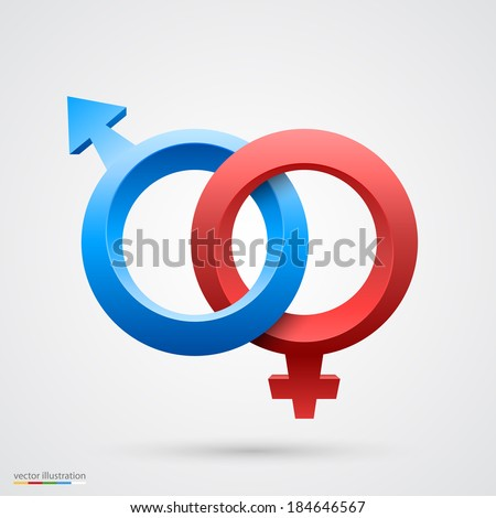 Vector illustration of male and female symbol - stock vector
