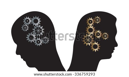Vector illustration of man and woman silhouettes with cogs in their heads. Partnership problems metaphor. - stock vector