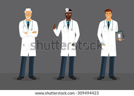 Vector illustration of Man doctor in various poses - stock vector