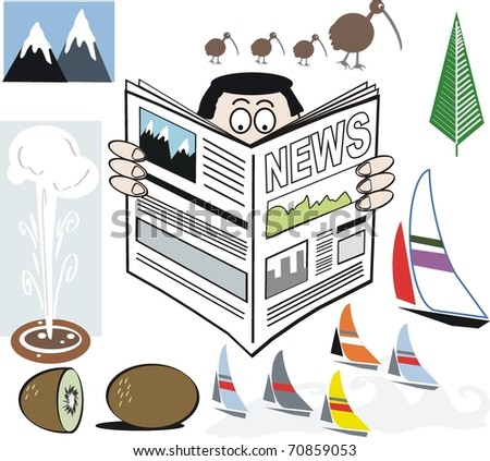 Vector illustration of man reading newspaper promoting New Zealand, with kiwi icons in background. - stock vector