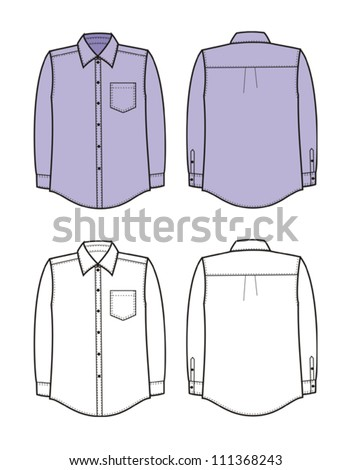 Vector illustration of man's business shirt. Front and back views - stock vector