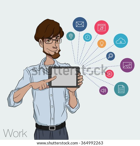 Vector illustration of man showing tablet screen for presentation app. Tools for remote network man via mobile devices. Guy with tablet computer. Cloud services and technologies network. Icon set app - stock vector