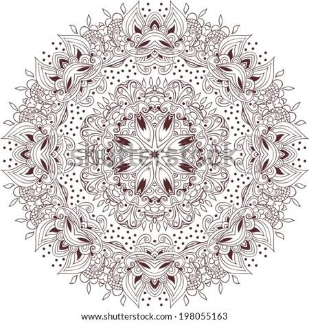 Vector illustration of mandala design. Concept image for card, yoga studio, meditation, spirituality, Indian, Arabic or Thai cuisine restaurants ads, tattoo salon. Round for paisley (mandala).  - stock vector