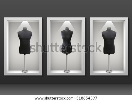 vector illustration of mannequin of man,woman in display unit with spot light - stock vector