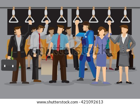 Vector illustration of many commuters inside a crowded metro or subway during rush hours. - stock vector
