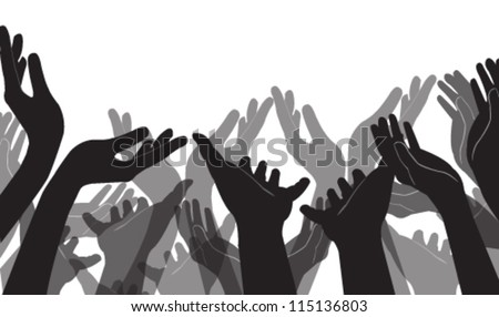 Vector illustration of many hands - stock vector