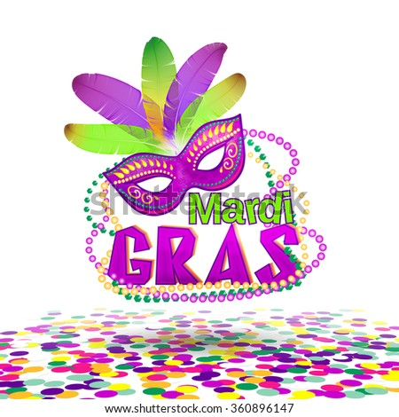Vector illustration of Mardi Gras or Shrove Tuesday lettering label on white background. Holiday poster or placard template. Mardi Gras design element. EPS 10 vector, grouped for easy editing. - stock vector