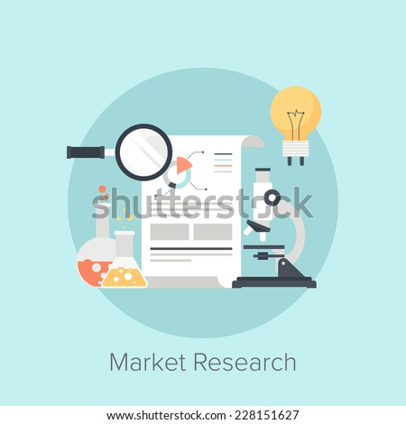 Vector illustration of market research flat design concept. - stock vector