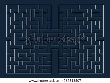 Vector illustration of maze / labyrinth. Isolated on blue background, eps 8. - stock vector