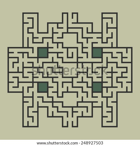 Vector illustration of maze / labyrinth. Isolated on green background, eps 8. - stock vector
