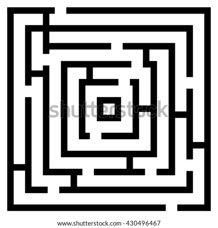 Vector illustration of maze / labyrinth. Isolated on white background, - stock vector