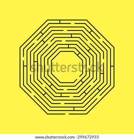 Vector illustration of maze / labyrinth. Isolated on yellow background, eps 8. - stock vector