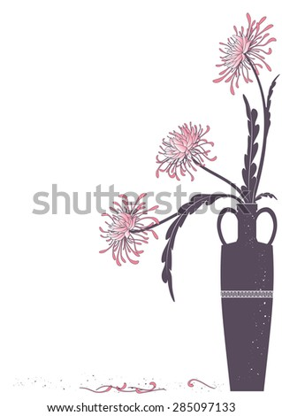 vector illustration of meander  vase with golden-daisy - stock vector