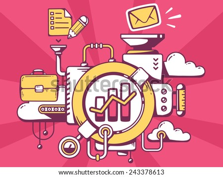 Vector illustration of mechanism with bar chart and office icons on red background. Line art design for web, site, advertising, banner, poster, board and print. - stock vector
