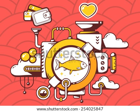 Vector illustration of mechanism with fish and relevant icons on red pattern background. Line art design for web, site, advertising, banner, poster, board and print. - stock vector
