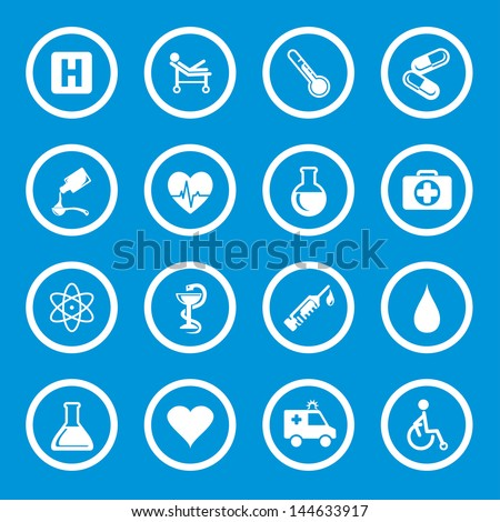 Vector illustration of medic icons in circles. - stock vector