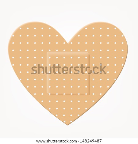 Vector illustration of medical bandage heart shape - stock vector