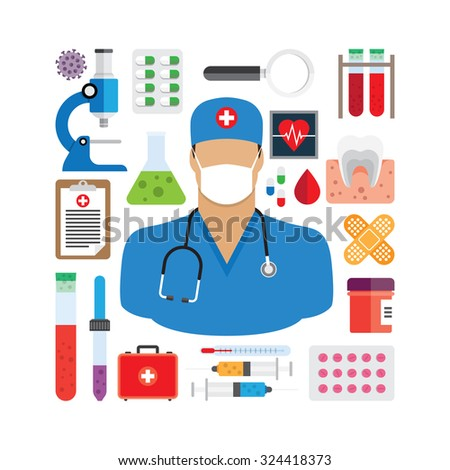 vector illustration of medical icons - stock vector